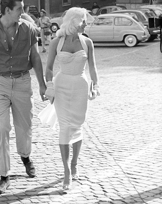 "deforest: "" Diana Dors and husband Denis Hamilton in Rome, July 1957 """