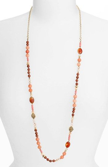Nordstrom Pebbles Long Beaded Necklace Varying sizes and shapes, unified tones.