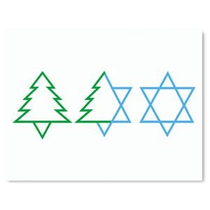 Trio(New) - Mixed Blessing Interfaith Holiday Cards www.MixedBlessing.com #Hanukkah #Chrismukkah #Christmas