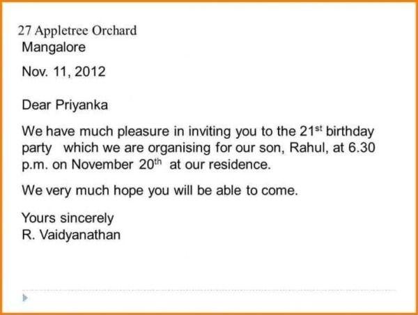 formal invitation letter birthday party