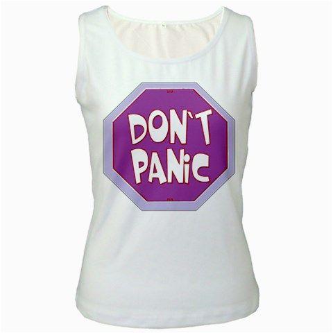 Purple Don't Panic Sign Women's Tank Top (White)