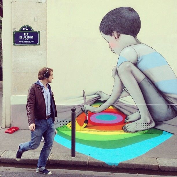 Playful Character-Themed Street Art Mural in Paris by Julien Malland via http://laughingsquid.com/
