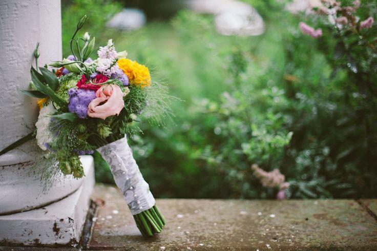 Wildflower bridal bouquet. Organic flowers from from Michigan Flower Farm.