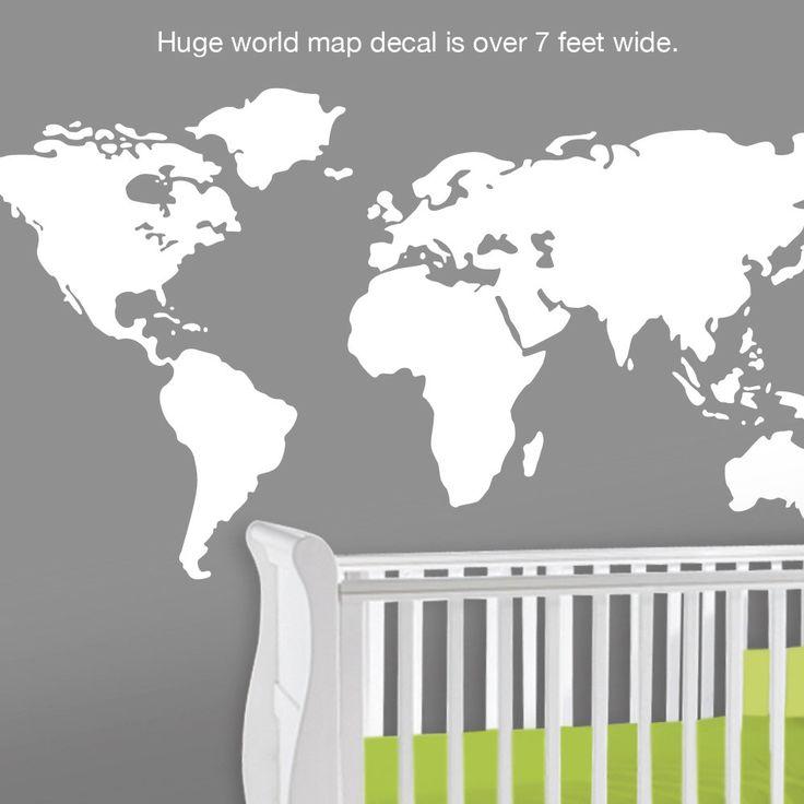 119 best baby nursery world theme images on pinterest baby baby nursery wall decal large world map nursery wall decal 7 feet wide world sciox Images
