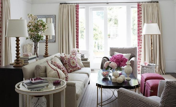 Gorgeous Beige And Pink Living Room Is Centered Around A