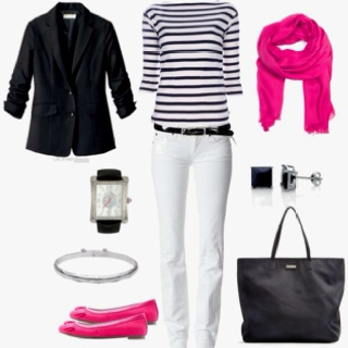 Accented Neutral- Black and white outfit with a bright pink scarf and bright pink shoes.