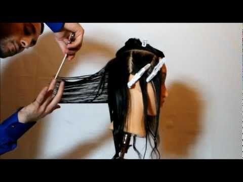 Tutorial taglio capelli donna - Taglio lungo strati progressivi_Volumi curvilinei - Parte 1 - YouTube