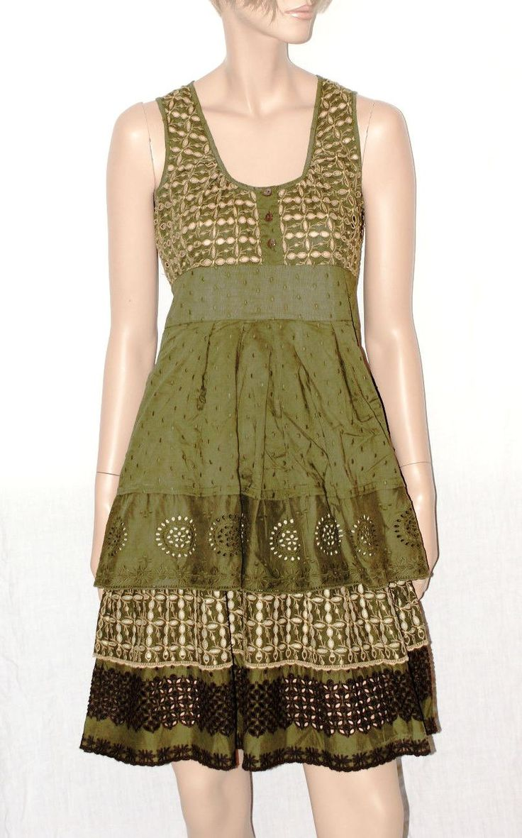 Beautiful Embroidered  Cotton Dark Green Woman Dress Branded SPORT MAX Abito…