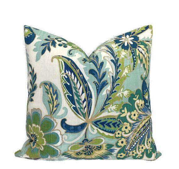 Peacock Color Pillow Blue Green Lagoon Floral Throw Pillow