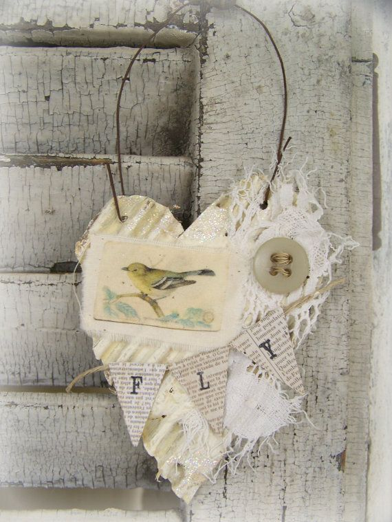 Shabby White Decor  Heart Ornament Vintage Bird Collage Vintage Mixed Media Cottage Style Heart Wall Hanging Antique Paper Heart Ornament