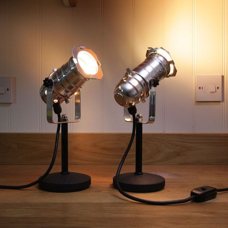 Retro Theatre Mini Table / Bedside Lamps - Polished