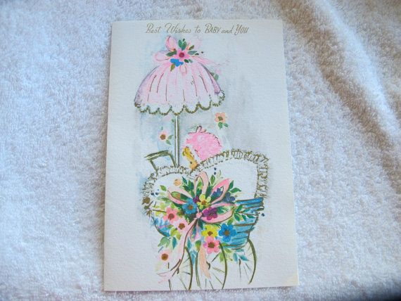 New baby best wishes card / Baby girl by AtticEphemera on Etsy