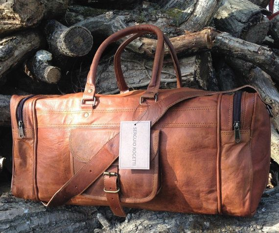 Hand Made Chic Rustic Leather Travel Bag 100% Real Leather Weekend Bag Holdall Overnight Holiday Vacation Duffel | https://www.etsy.com/ca/listing/398040121/