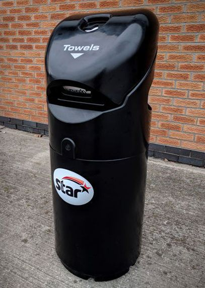 Our Auto-Mate™ petrol forecourt 3 in 1 unit (litter bin, towel dispenser and glove dispenser) branded with the Star Petrol logo.