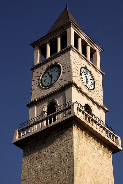 Clock Tower. Tirana's landmark central sight is the clock tower from 1822. The shadow of the tower strikes the mosque at sunset, an event long used to demark the closing time of the formerly adjacent market place. Albania