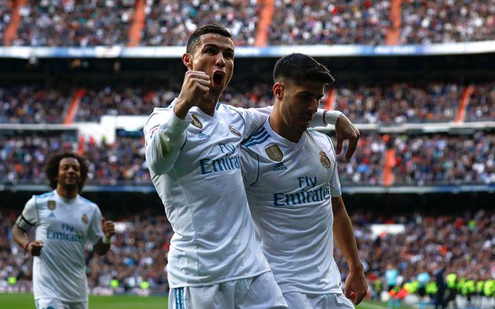 Download wallpapers Marco Asensio, Cristiano Ronaldo, Real Madrid, Spain, La Liga, football