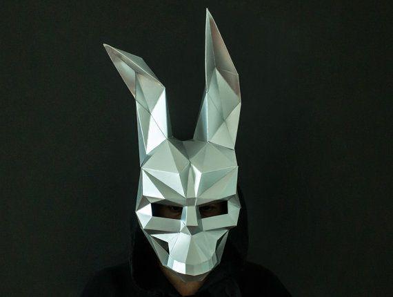 Make your own Donnie Darko Half Mask, Instant Pdf download, DIY New Year Mask…