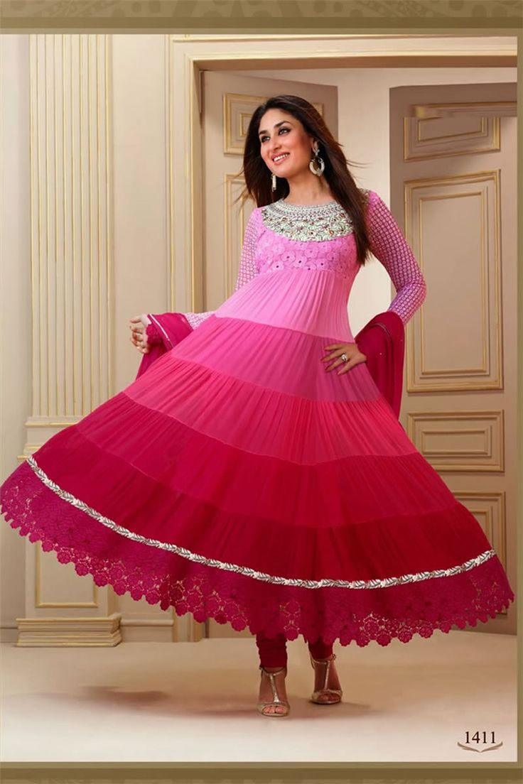 Kareena Kapoor Style Pink Color Shaded Faux Georgette Fabric Salwar Kameez With Matching Bottom And Dupatta.