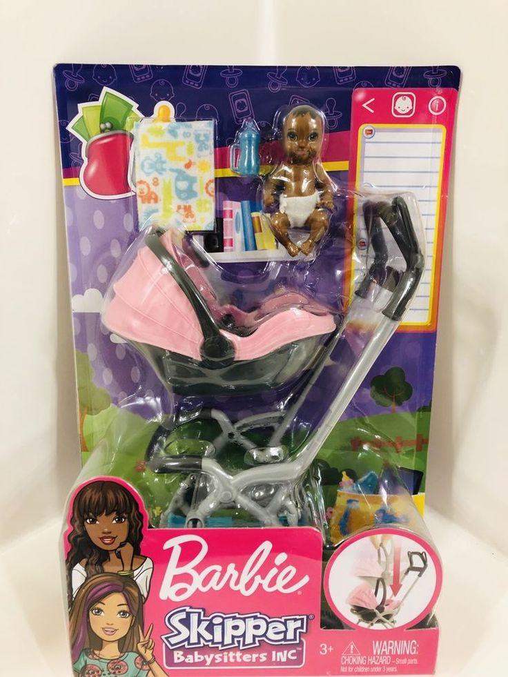 BARBIE SKIPPER BABYSITTERS INC PINK STROLLER & AFRICAN