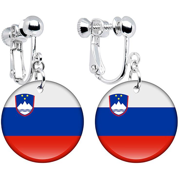 Slovenia Flag Clip on Earrings