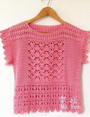 crochelinhasagulhas: Blusa rosa em crochê