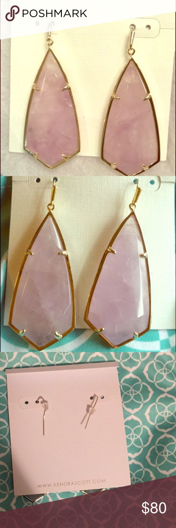 """Authentic Kendra Scott Caroline Earrings. Authentic Kendra Scott Caroline Earrings. These are Amethyst stones with gold plated finish and about 2 1/4"""" drop.  These are brand new never worn and comes with dustbag.  Price tag was missing at time of purchase. Please feel free to ask questions. Kendra Scott Jewelry Earrings"""