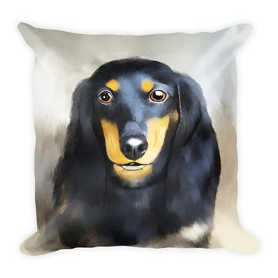 #Dachshund #Dog Portrait Art Square #Pillow | Gifts for Dachshund Mom, Dachshund Dad | Dachshund Pillow | Dachshund Lovers gift idea | Dog Phot
