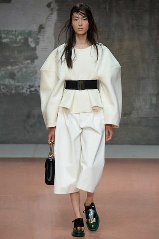 Very voluminous belted with gaucho shorts and loafers. Marni Fall 2014 Ready-to-Wear Collection Slideshow on Style.com