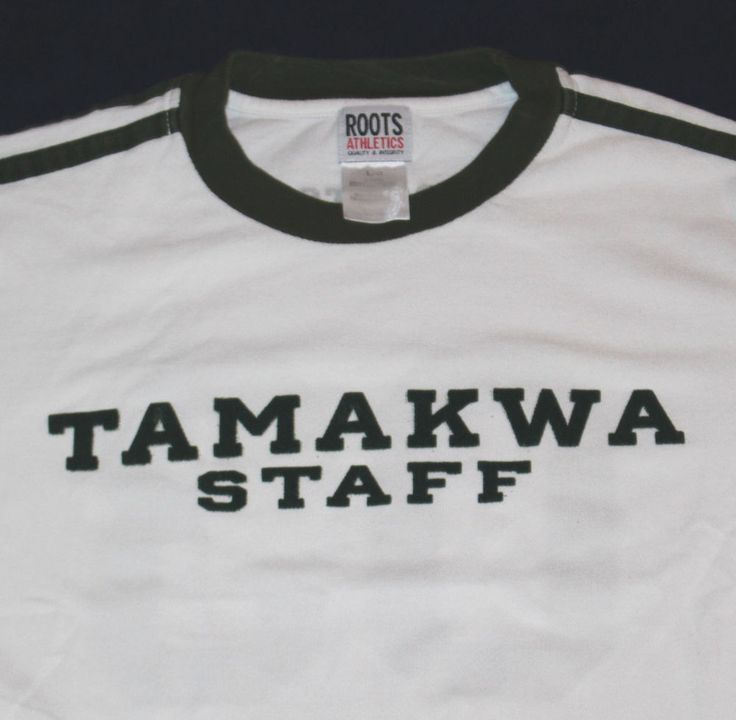 vtg ROOTS Camp Tamakwa Staff Summer T-Shirt Ringer Tee White Men's LARGE 03 2003 #Roots #GraphicTee