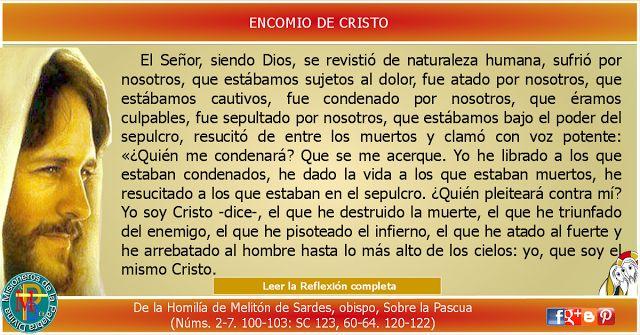 MISIONEROS DE LA PALABRA DIVINA: REFLEXIÓN -  ENCOMIO DE CRISTO