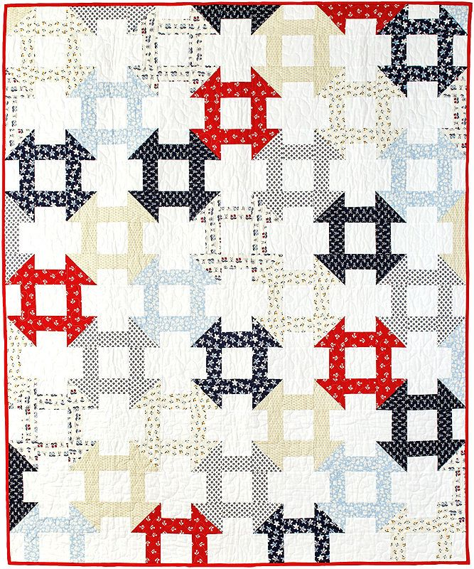 This is not your ordinary churn dash quilt. Designer Kelly Bowser has created a design with mesmerizing interlocking blocks.