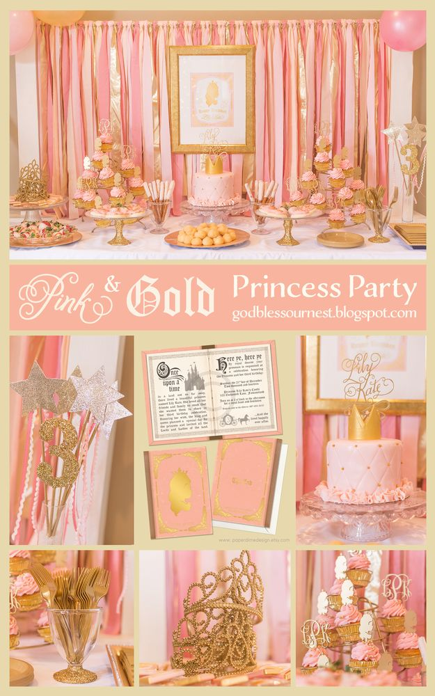 Lily Kate's Pink and Gold Princess Party | CatchMyParty.com