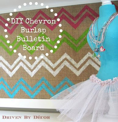 DIY Chevron Burlap Bulletin Board
