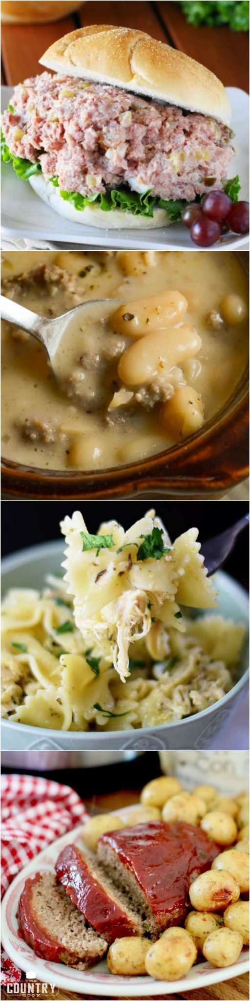 Featured recipes at Weekend Potluck include: Ham Salad, Tuscan Sausage and White Bean Soup, Instant Pot Meatloaf and Potatoes, Slow Cooker Chicken Pesto Pasta #dinner #mealplan #recipe #ideas