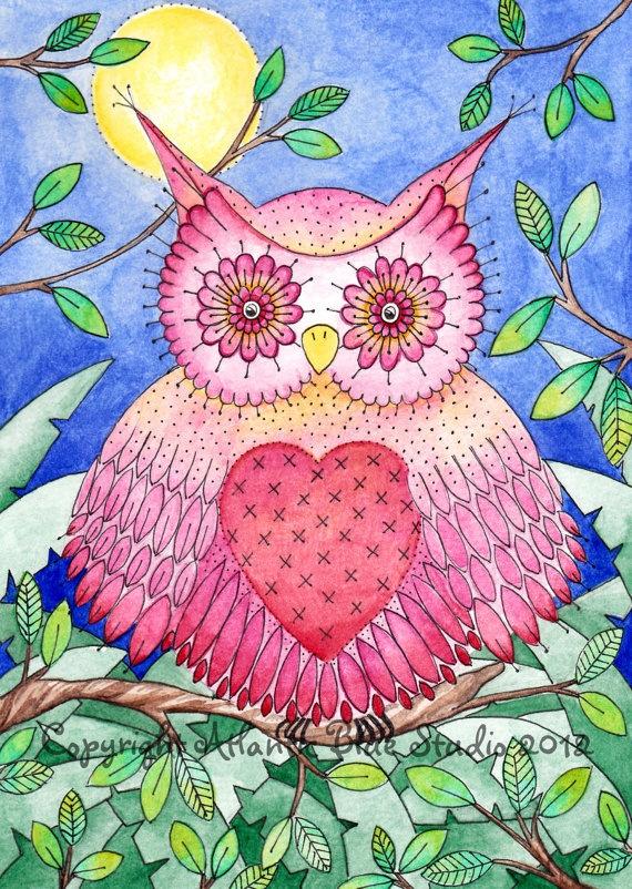 """Rosa búho Lámina 8 """"x11.5"""" - rosa Lámina Bird - Reproducción - Acuarela colorida - Owl siempre te amo. €15,00, via Etsy."""