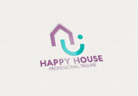Happy House Logo by eSSeGraphic on Creative Market