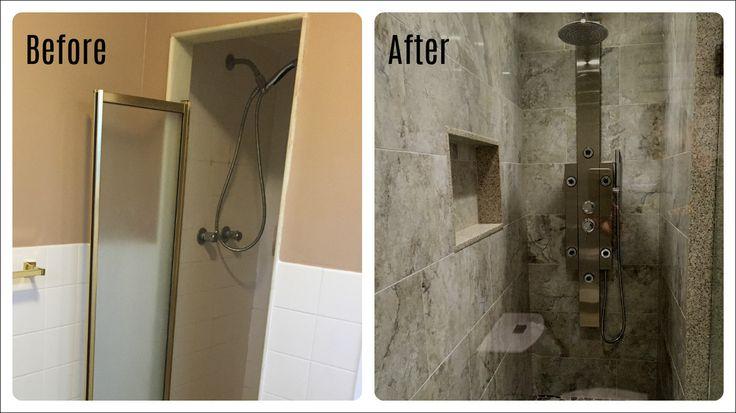 www.contractingbyus.com #beforeandafter #shower #modern #tile #homerenovation #homeimprovement #homeremodelling #reno #bathroom #Toronto #bathroomtransformation #generalcontractor