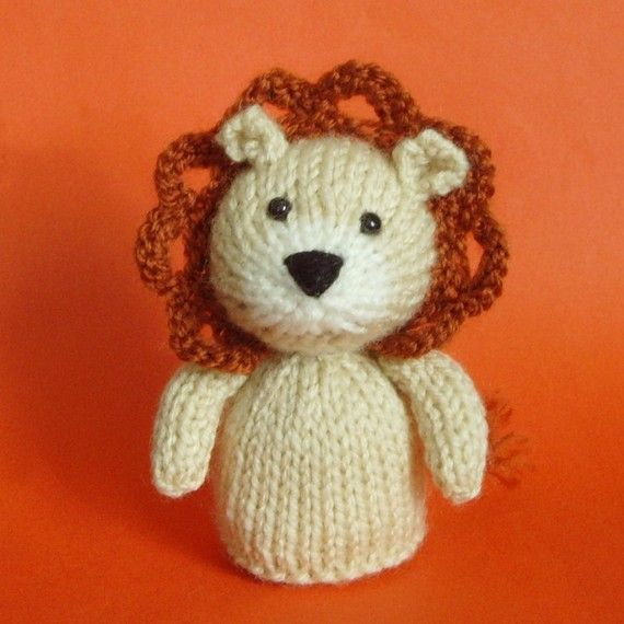 Knitting Patterns For Finger Puppets Free : Lion Toy Knitting Pattern (PDF) Legs, Egg Cozy & Finger Puppet instructio...