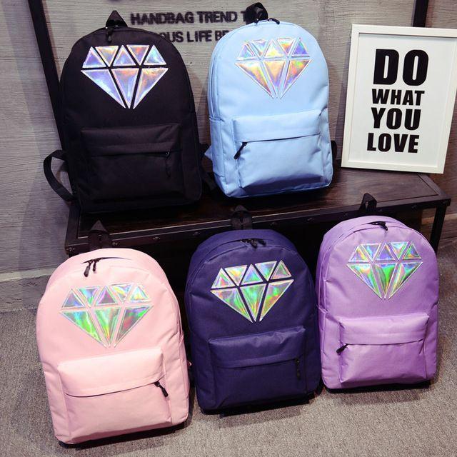 Holográfico prata diamante cores sólidas dos homens mochilas de lona sacos de escola meninas adolescentes unisex feminino laptop viajar mochilas grandes