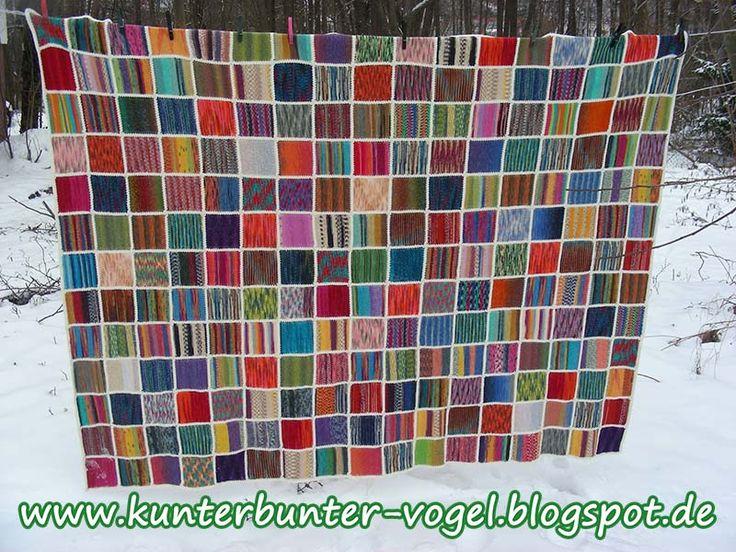 Kunterbunter Vogel: Anleitung - Erwachsenen-Decke aus Sockenwollresten
