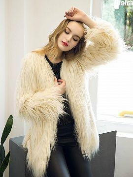 Beige Collarless Longline Faux Fur Coat