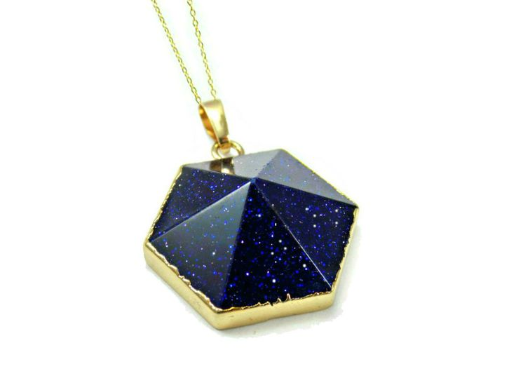 Blue Stone Pendant, Blue Goldstone Necklace, Raw Gemstone Pendant, Gift For Wife Birthday Gift, Womens Necklace, Wife Gift, Blue Sandstone by RoseAndRabbitDesigns on Etsy https://www.etsy.com/listing/262382579/blue-stone-pendant-blue-goldstone