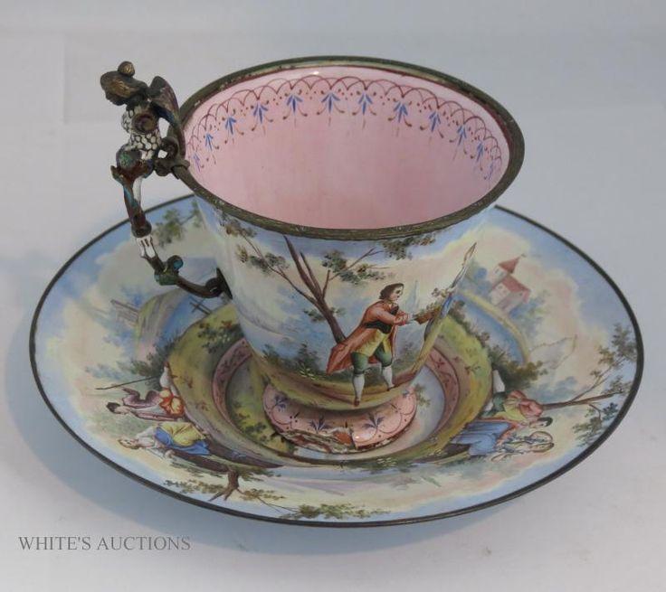 Viennese Enamel silverdimiutive cup & saucer