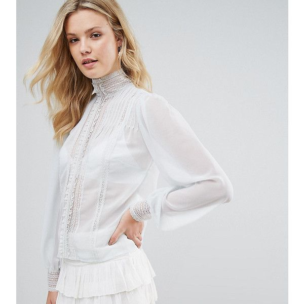 ASOS TALL Victoriana Blouse with Pintuck and Lace Detail ($34) ❤ liked on Polyvore featuring tops, blouses, blue, transparent blouse, asos blouses, high neck long sleeve blouse, blue long sleeve blouse and pintuck blouse