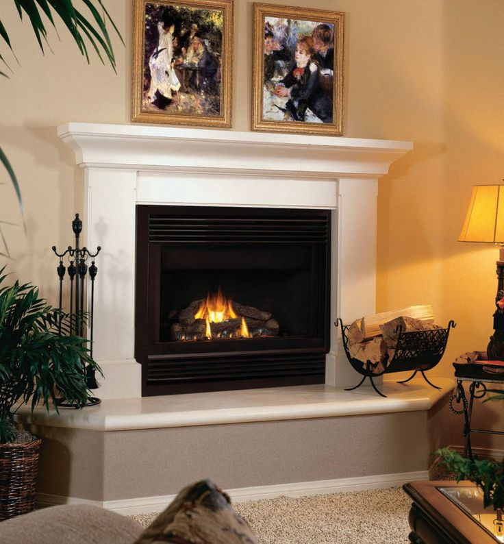 Decoration Indoor White Stone Fireplace Mantel Combined With Dark Tempered Glass Screen Design Ideas For