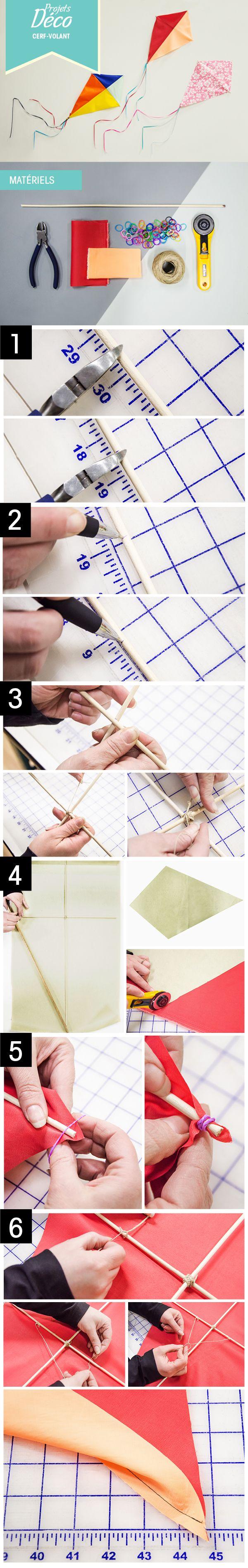 PAS À PAS: Le cerf-volant décoratif! #DIY #enfant #déco #chambre http://clubtissus.com/articles-blog/articles-decoration/projet-cerf-volant