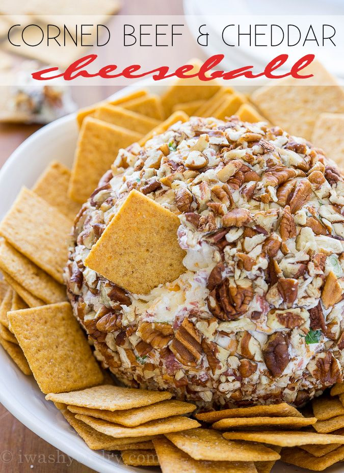 This Corned Beef and Cheddar Cheeseball is packed with flavor and rolled in chopped pecans for an irresistible appetizer that everyone will love!