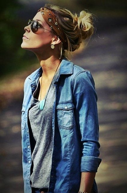 messy bun, hair wrap, denim, grey v-neck, necklace, sunnies, love it all :)