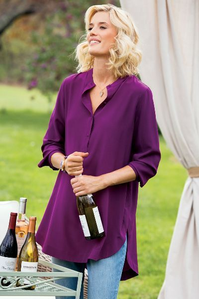 Luxury meets casual fashion in our Supreme Silk Tunic - wear it with your favorite jeans to finish the look.