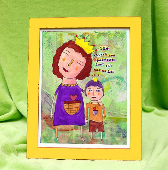 """""""She thinks he's perfect just the way he is."""" Of course she does! Love Allison Strine's artwork!"""